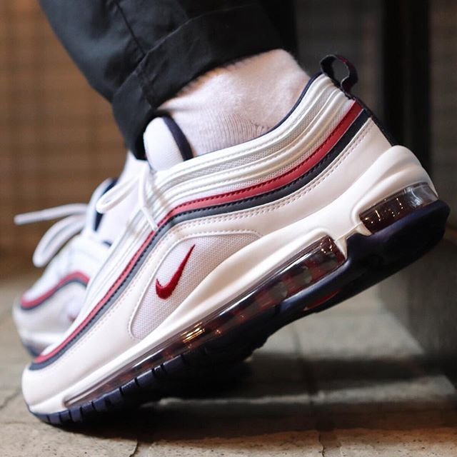 3208907a2f Nike Air Max 97 Red Crush White Blackened Blue 921733 102 Men's Casual Shoes