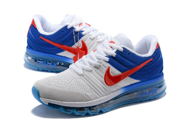 6eddadba827 Nike Air Max 2017 KPU Whtie Royal Blue Red 849560 315 Men s Running Shoes