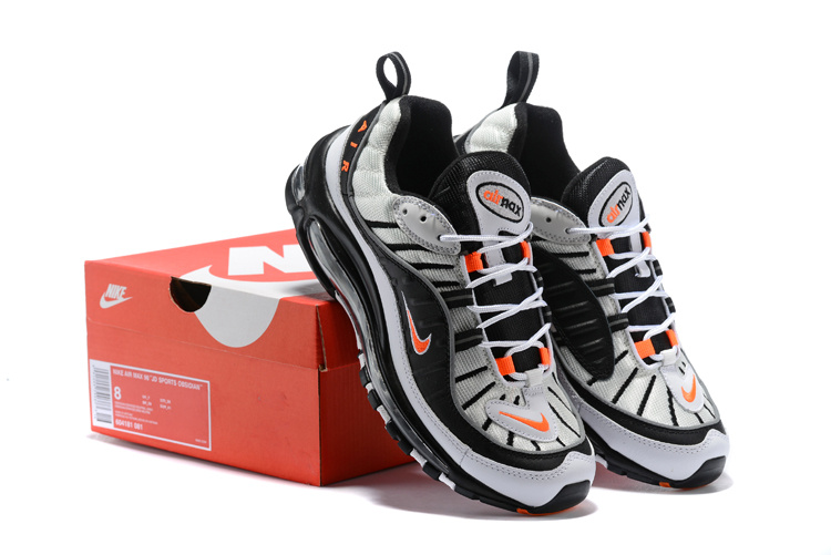 new styles a72d4 46d93 Nike Air Max 98 White Black Orange 604181 081 Men's Running Shoes 604181-081