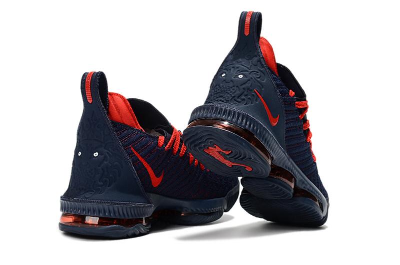 factory price 0450c 565f2 Nike LeBron 16 Navy Blue Burgundy Men's Basketball Shoes NIKE-ST003167