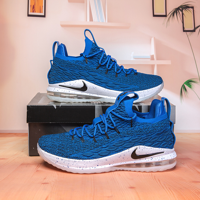 bff2befb64519 Nike Lebron James 15 XV Low Royal Blue Black White Men s Basketball Shoes