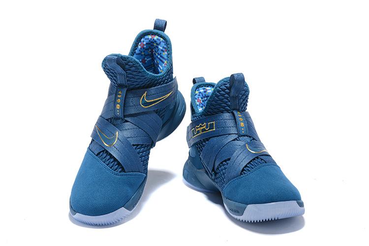 best website b8a9d d3519 Nike LeBron Soldier XII SFG 12 Blue Force Aegean Storm Metallic Gold AO4054  400 Men's Basketball Shoes AO4054-400