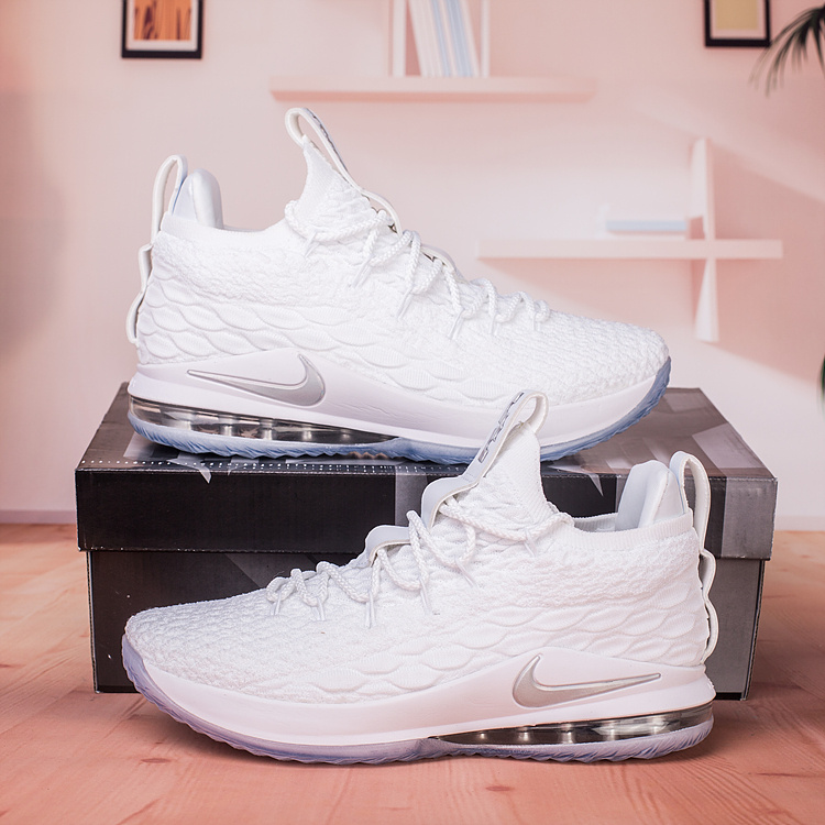super popular 1f92e 24c1a Nike Lebron 15 XV Low White Metallic Silver AO1755 100 Men's Basketball  Shoes AO1755-100A