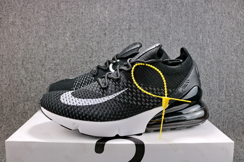 Nike Air Max 270 Flyknit White Black AH8050 015 Men s Casual Shoes ... 8c89c1a2e83c