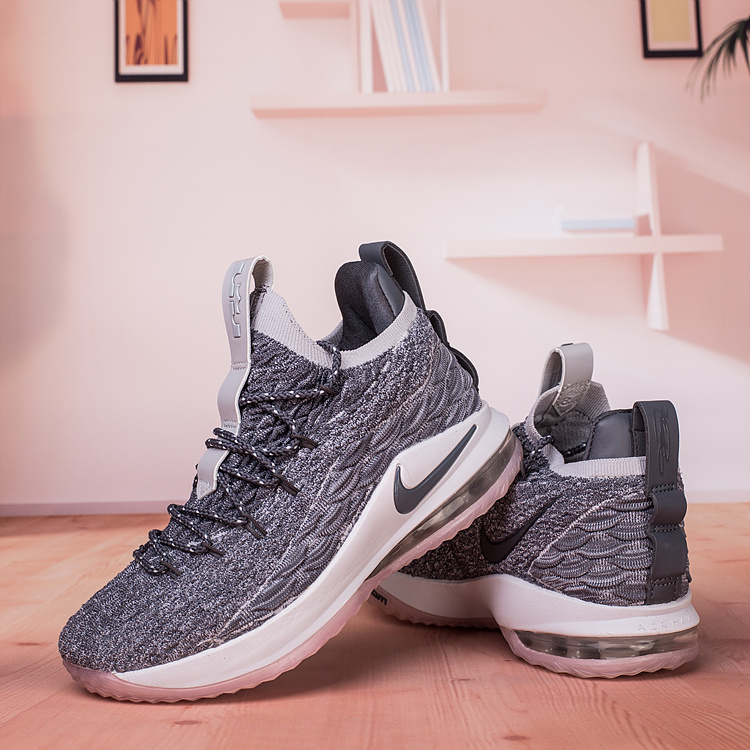 1d51ecd332309 Nike Lebron James 15 XV Low Wolf Grey White Men s Basketball Shoes ...