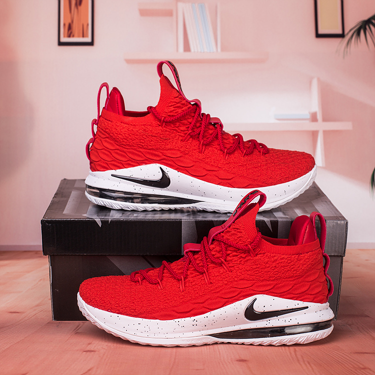 low priced 8f2fe 4a39c Nike Lebron James 15 XV Low University Red Black White Men's Basketball  Shoes NIKE-ST003205