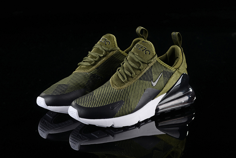 7746fe70d967 Nike Air Max 270 Stripe Olive Green Black White Men s Casual Shoes ...