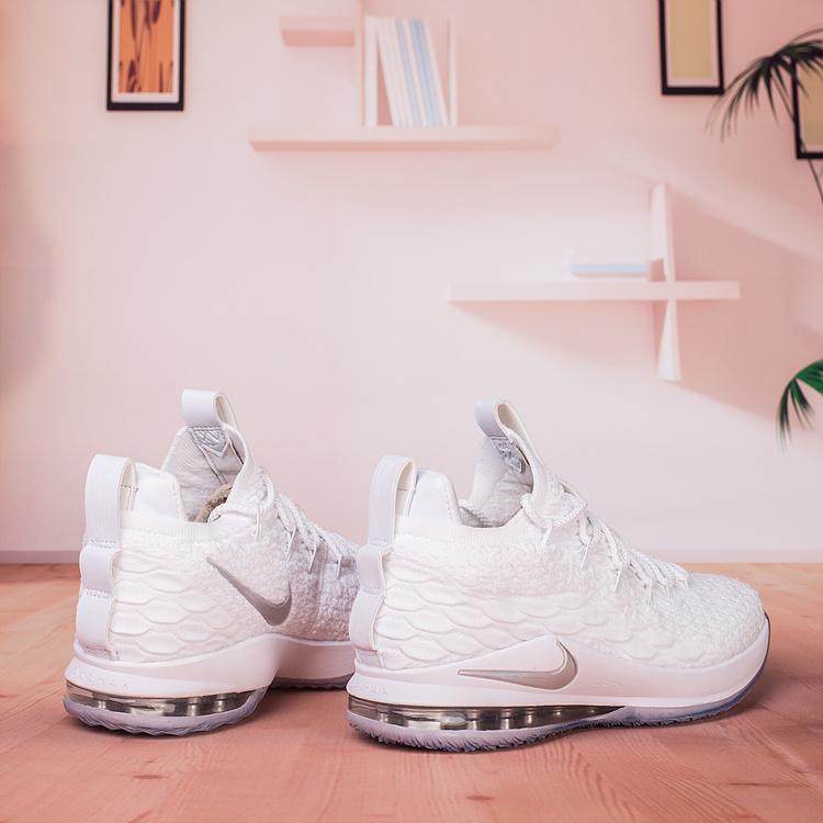super popular 08153 29a5f Nike Lebron 15 XV Low White Metallic Silver AO1755 100 Men's Basketball  Shoes AO1755-100A