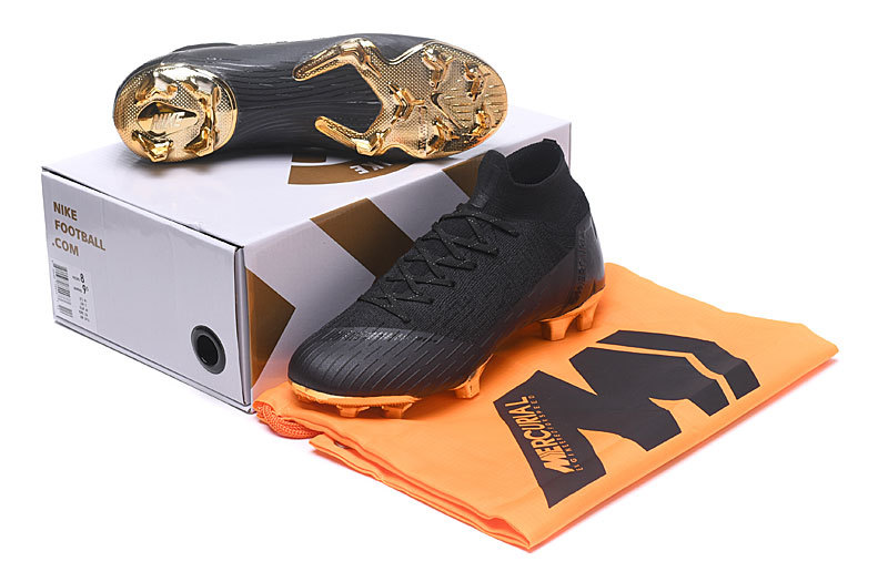 quality design d3b01 4f1c3 Nike Mercurial Superfly VI Elite FG Flyknit 360 Black Metal Gold Men's  Soccer Cleat Shoes NIKE-ST003058