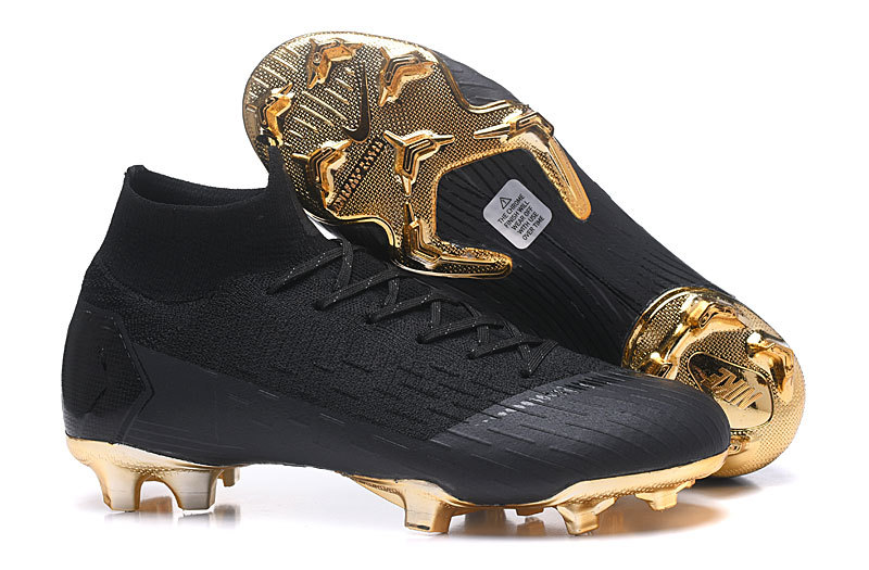 Nike Mercurial Superfly VI Elite FG Flyknit 360 Black Metal Gold Men s Soccer  Cleat Shoes c6fc6dd20e7