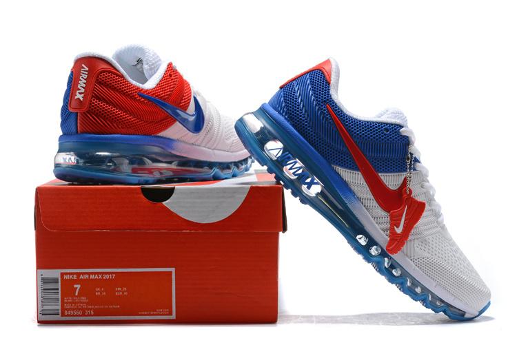 online retailer fa12e 468c9 Nike Air Max 2017 KPU Whtie Royal Blue Red 849560 315 Men s ...