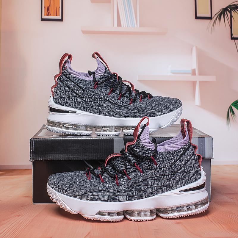 423ad76a2bd88 Nike Lebron 15 XV Black Grey Burgundy Men s Basketball Shoes NIKE ...