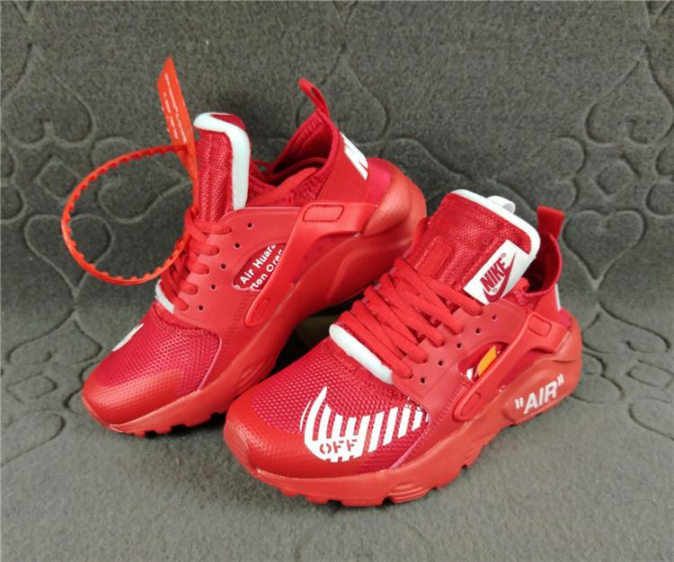 Nike Air Huarache Ultra Run Off White October Red White Women s Men s  Casual Shoes 9f3c342cf