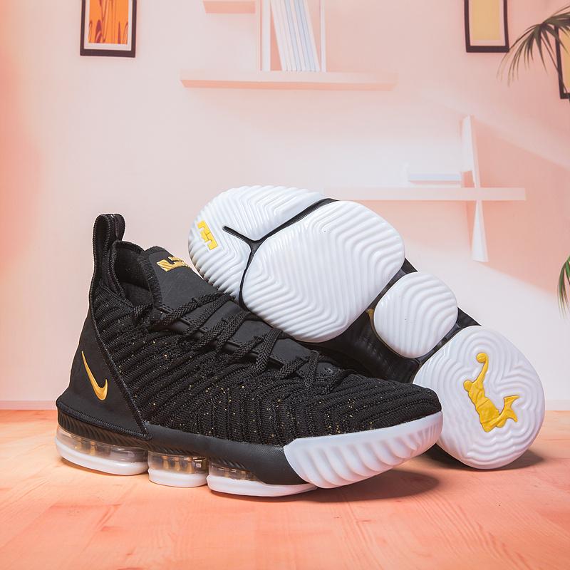 new concept c1423 2d835 Nike LeBron 16 Black Gold White Men's Basketball Shoes NIKE-ST003117