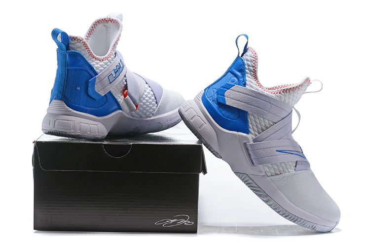 the latest 8db34 81e5c Nike LeBron Soldier 12 White Blue Men's Basketball Shoes NIKE-ST003047