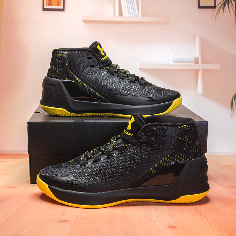 brand new 8cf0a 254ff Under Armour Curry 3 Black Yellow 1269279 007 Men's Basketball Shoes  1269279-007a