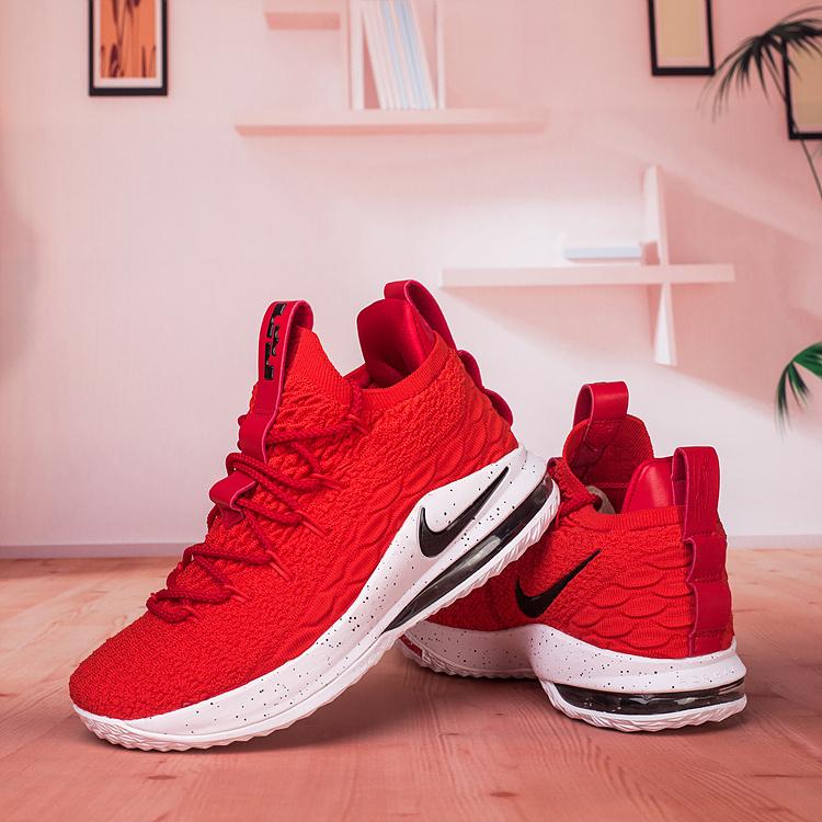 official photos 86535 a1780 Nike Lebron James 15 XV Low University Red Black White Men's Basketball  Shoes