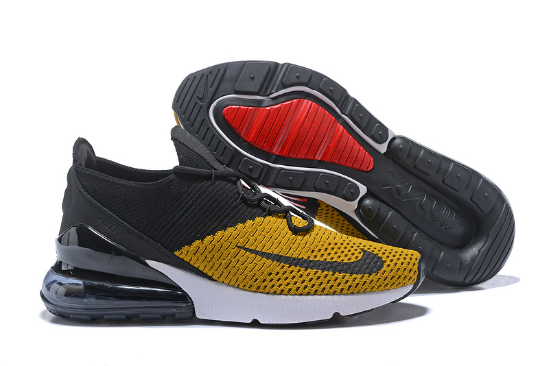 best authentic 80e8d 35820 Nike Air Max 270 Flyknit Yellow Black White Men s Casual Shoes ...
