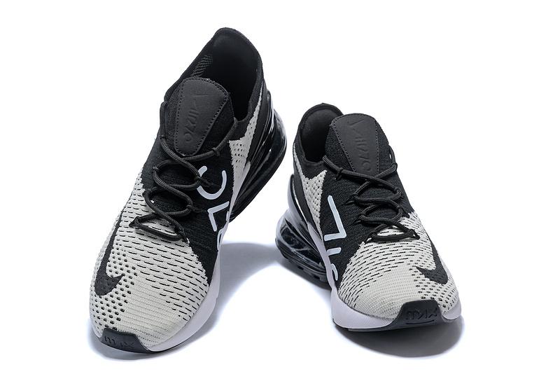 18fafca92b3b Nike Air Max 270 Flyknit Grey Black White Women s Men s Casual Shoes ...