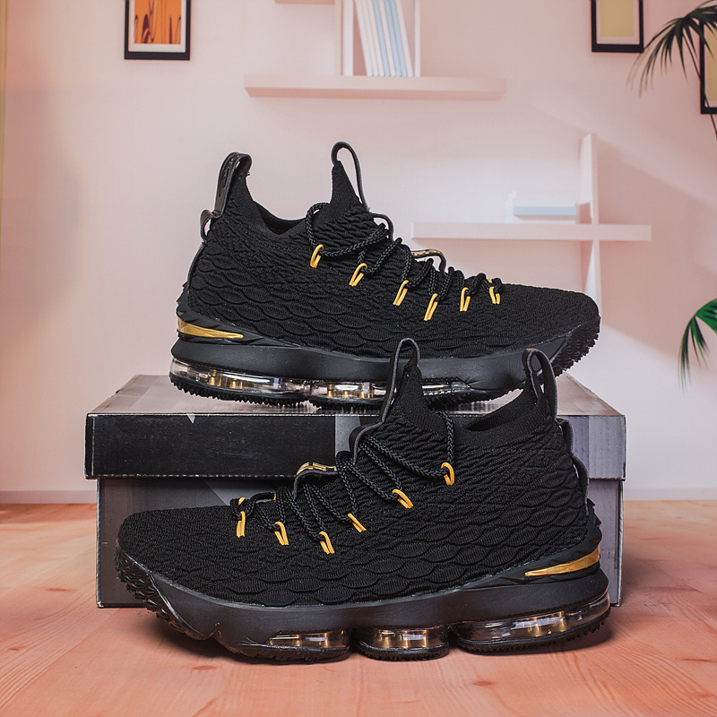 hot sale online d1855 af480 Nike Lebron 15 XV Black Gold ...