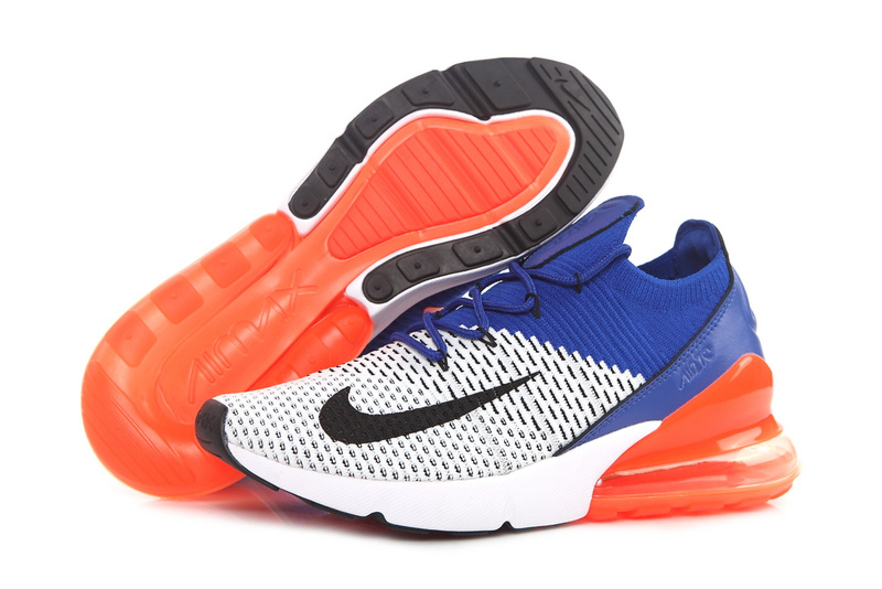 new concept ce80f a557a Nike Air Max 270 Flyknit White Black Racer Blue AO1023 101 Men's Casual  Shoes NIKE-ST002948
