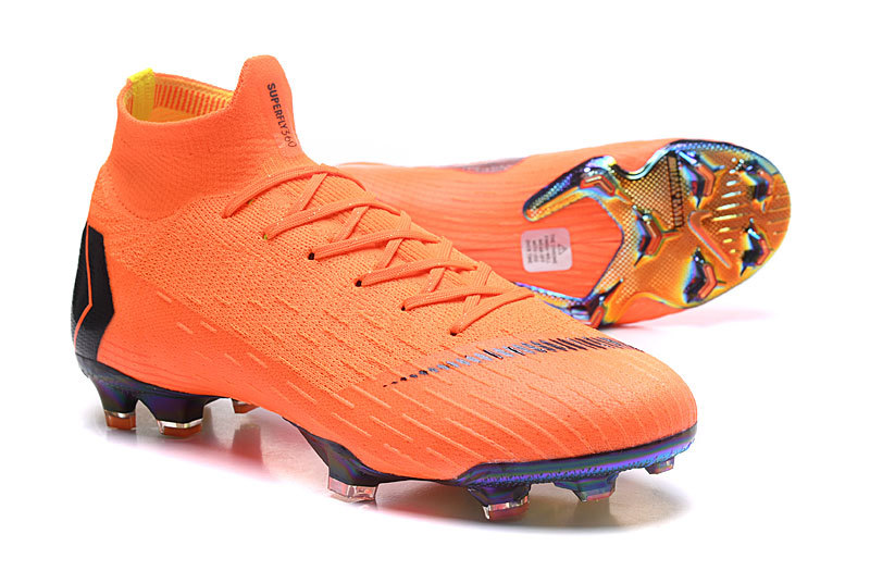 detailed look d7f4d 92765 Nike Mercurial Superfly VI Elite FG Flyknit 360 Orange Black Men's Soccer  Cleat Shoes NIKE-ST003062