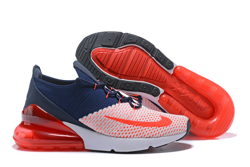 9a2d3ecee8e Nike Air Max 270 Flyknit White Red Navy Women s Men s Casual Shoes ...