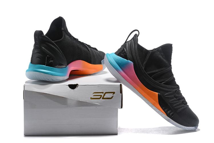 best website 6d7ef e36a7 Under Armour UA Curry 5 Black Multi-Color Spectrum Men's Basketball Shoes  NIKE-ST002908