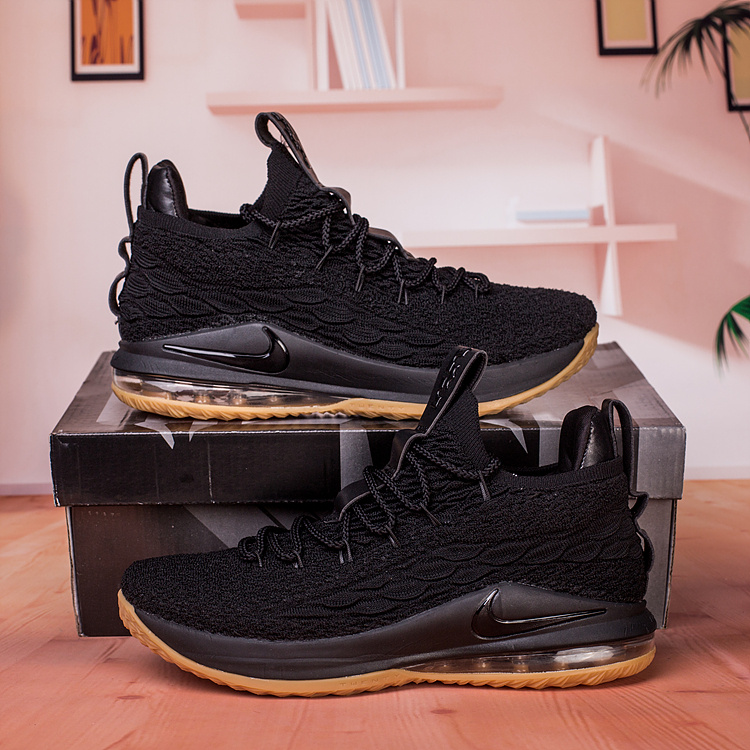 huge discount 64aad fa052 Nike Lebron James 15 XV Low Black Gum Men's Basketball Shoes NIKE-ST003202