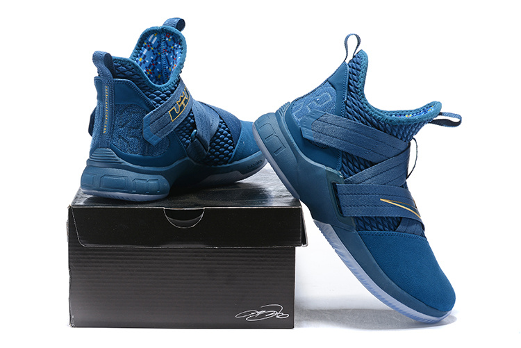 98ca8a0e169 Nike LeBron Soldier XII SFG 12 Blue Force Aegean Storm Metallic Gold ...