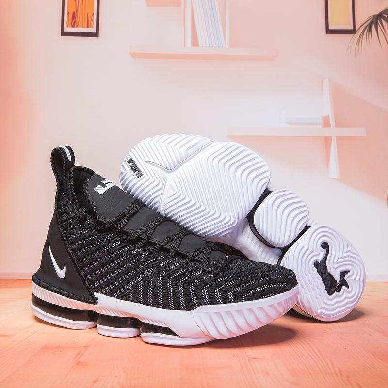 91ea2d4a2e72 Nike LeBron 16 Black White Men s Basketball Shoes NIKE-ST003114 ...