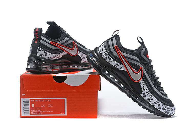 df882e4028 Men's Nike Air Max 97 Ultra 17 SE Black Red Silver White 924452 021 ...