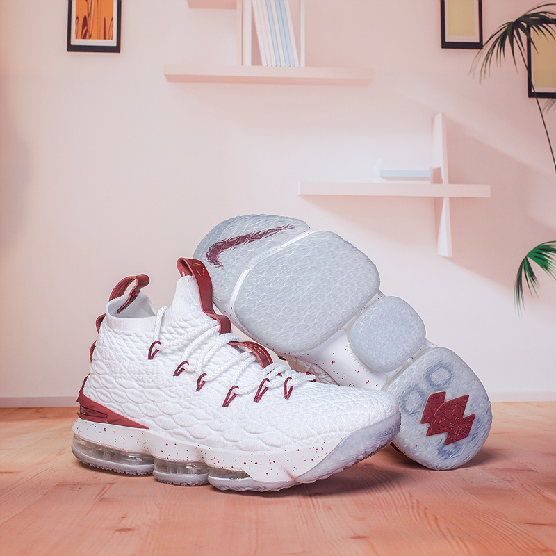 buy popular 127a4 e2e59 Nike Lebron 15 XV White Burgundy Men's Basketball Shoes NIKE-ST002990