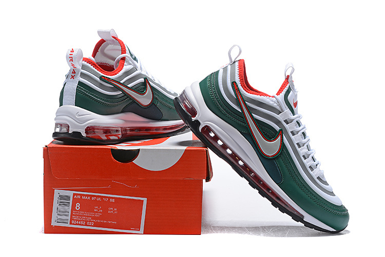 895e7eceaf Men's Nike Air Max 97 Ultra 17 SE Green Silver Red White 924452 022 Casual  Shoes Sneakers 924452-022