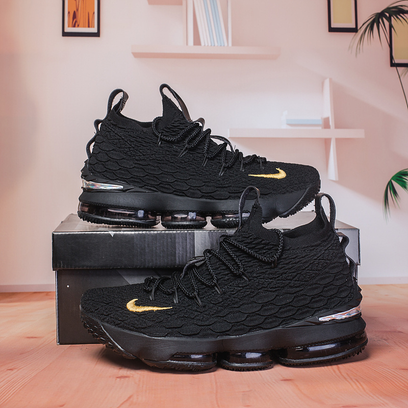 huge discount d1deb a4db6 Nike Lebron 15 XV Black Gold Men's Basketball Shoes NIKE-ST003249