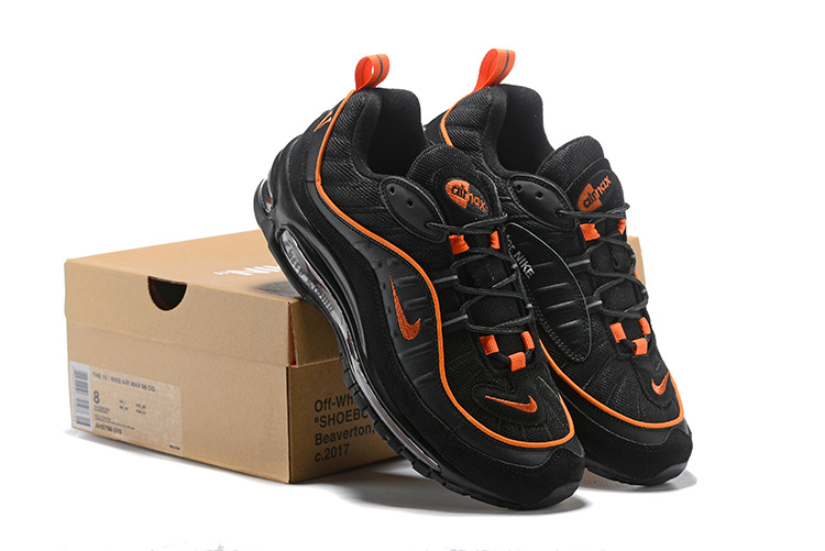 23eceaa66533 Nike Air Max 98 Black Orange Men s Running Shoes NIKE-ST003270 ...