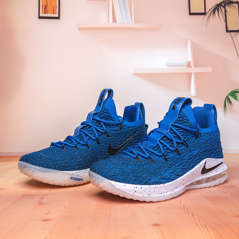 be0f97765ef5c Nike Lebron James 15 XV Low Royal Blue Black White Men s Basketball Shoes