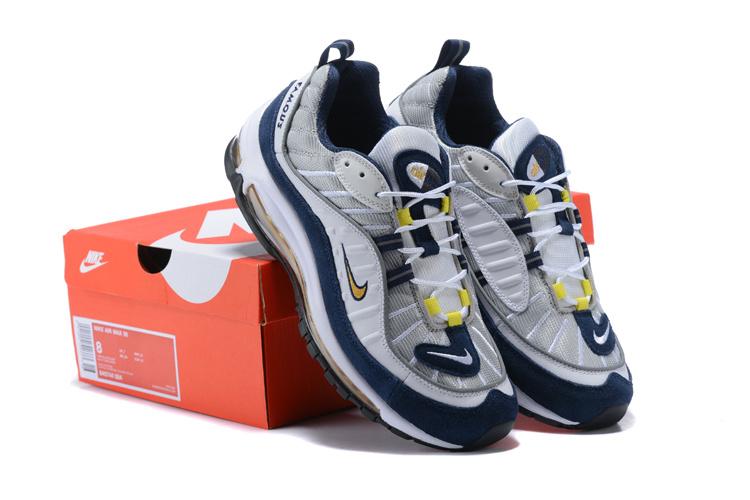 Nike Air Max 98 White Tour Yellow Midnight Navy 640744 105 Men s ... 13fedcb52030