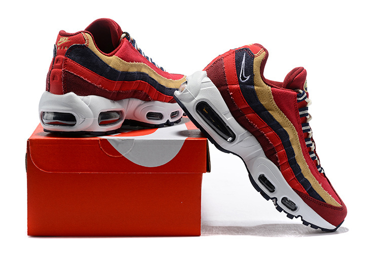 low priced 184d2 70f5f Nike Air Max 95 Essential October Red Gold Navy Blue Women's Men's Casual  Shoes NIKE-ST002864