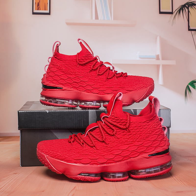 best sneakers 3a5c4 e9870 Nike Lebron 15 XV October Red Black Men's Basketball Shoes NIKE-ST003238