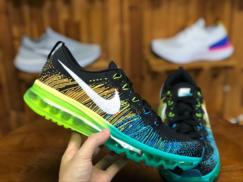ffca939cbe08 Exquisite Nike Air Max Flyknit 2014 Black Turbo Green Volt 620469 001 Men s  Casual Shoes Sneakers
