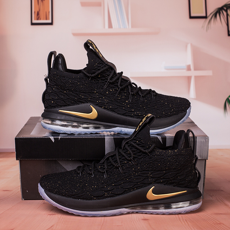 fffcf8faeabcd Nike Lebron James 15 XV Low Black Gold Men s Basketball Shoes NIKE ...