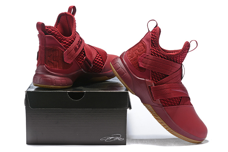 best service c8bd6 fb481 Nike LeBron Soldier 12 Burgundy Gum Men's Basketball Shoes NIKE-ST003045
