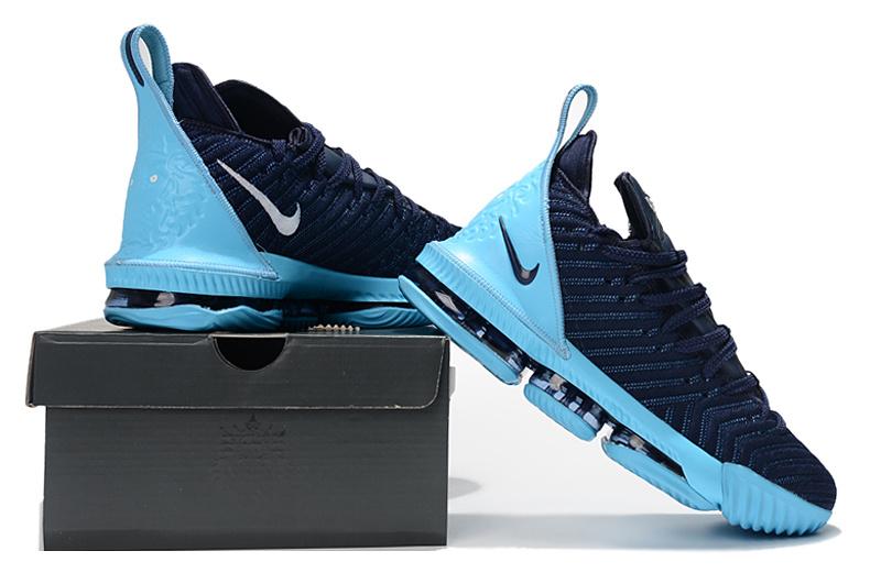 newest 6ea67 02789 Nike LeBron 16 Jade Navy Blue Men's Basketball Shoes NIKE-ST003166