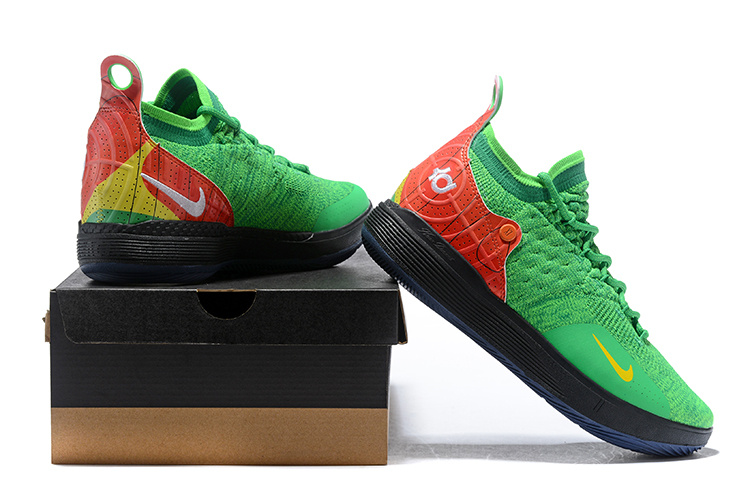 new arrival 2e1d6 741af Nike Zoom KD 11 EP Black Green Red Yellow Men s Basketball Shoes