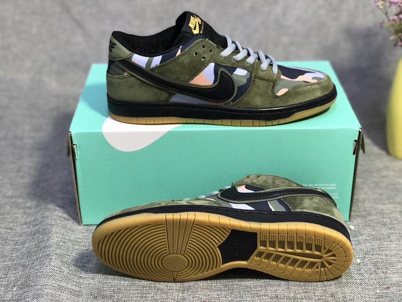 956448064cb02a Nike Dunk Sb Low Pro Skate Camo Medium Olive Black 854866 209 Men s ...