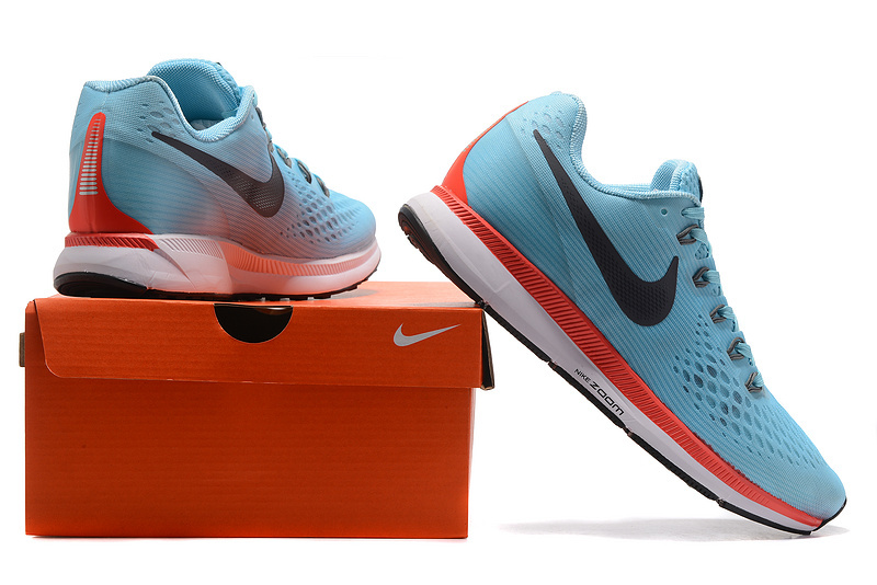 2ef5980847cd Nike Zoom Pegasus 34 FlyEase Ice Blue Blue Fox Bright Crimson White 880560  404 Men s Casual
