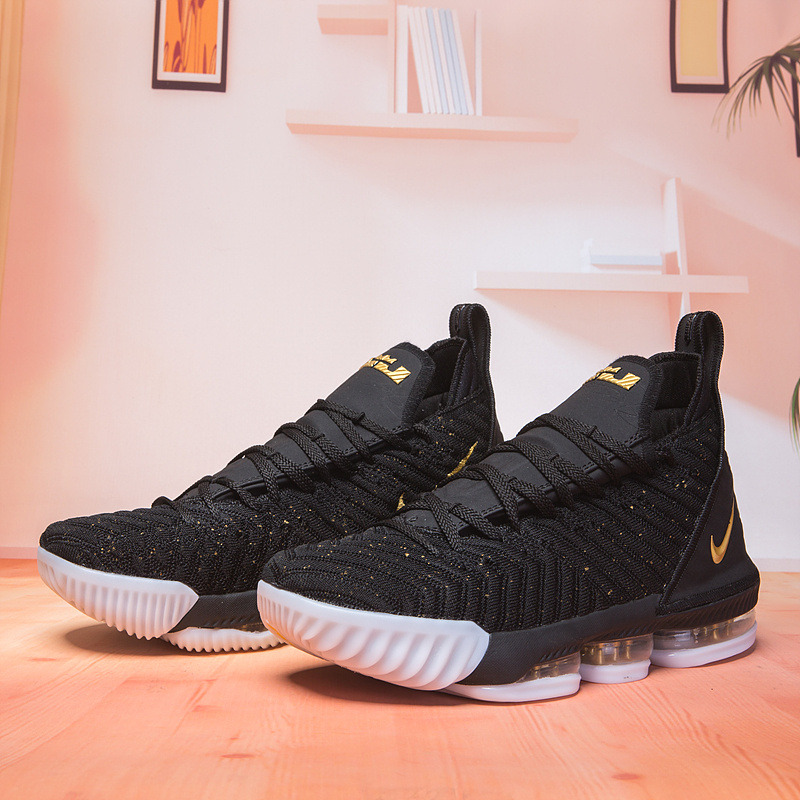 327e96263edb Nike LeBron 16 Black Gold White Men s Basketball Shoes NIKE-ST003117 ...