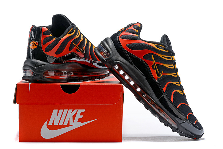 online store a5e50 eb6f7 Men's Nike Air Max Plus TN 97 Black Engine 1 Shock Orange Black AH8144 002  Casual Shoes Sneakers AH8144-002