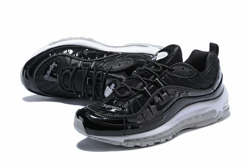 Supreme Nike Air Max 98 Black White Men's Running Shoes NIKE ST003283